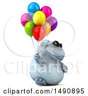 Poster, Art Print Of 3d White Monkey Yeti Holding Balloons On A White Background