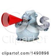 Poster, Art Print Of 3d White Monkey Yeti Holding A Dollar Symbol On A White Background