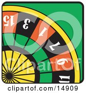 Colorful Roulette Wheel In A Casino Clipart Illustration