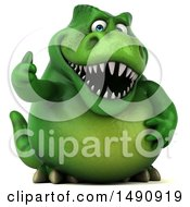Clipart Of A 3d Green T Rex Dinosaur Holding A Thumb Up On A White Background Royalty Free Illustration