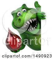 Clipart Of A 3d Green T Rex Dinosaur Holding A Blood Drop On A White Background Royalty Free Illustration