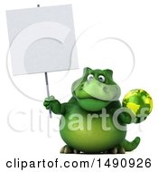 3d Green T Rex Dinosaur Holding A Globe On A White Background