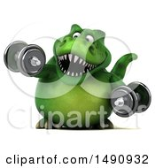 Clipart Of A 3d Green T Rex Dinosaur Holding Dumbbells On A White Background Royalty Free Illustration by Julos