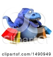 Clipart Of A 3d Blue T Rex Dinosaur Carrying Shopping Bags On A White Background Royalty Free Illustration by Julos