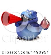 Clipart Of A 3d Blue T Rex Dinosaur Holding A Blood Drop On A White Background Royalty Free Illustration