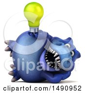 Clipart Of A 3d Blue T Rex Dinosaur Holding A Light Bulb On A White Background Royalty Free Illustration by Julos