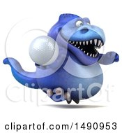 Clipart Of A 3d Blue T Rex Dinosaur Holding A Golf Ball On A White Background Royalty Free Illustration by Julos