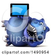 Clipart Of A 3d Blue T Rex Dinosaur Holding A Tablet Computer On A White Background Royalty Free Illustration by Julos