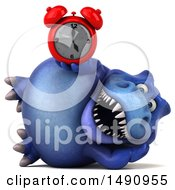 Clipart Of A 3d Blue T Rex Dinosaur Holding An Alarm Clock On A White Background Royalty Free Illustration by Julos