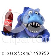 Clipart Of A 3d Blue T Rex Dinosaur Holding A Soda On A White Background Royalty Free Illustration by Julos