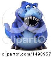 Clipart Of A 3d Blue T Rex Dinosaur On A White Background Royalty Free Illustration