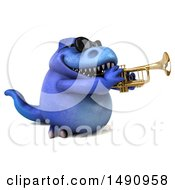 Clipart Of A 3d Blue T Rex Dinosaur Playing A Trumpet On A White Background Royalty Free Illustration by Julos