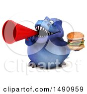 Clipart Of A 3d Blue T Rex Dinosaur Holding A Burger On A White Background Royalty Free Illustration by Julos