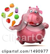 Clipart Of A 3d Pink Henrietta Hippo Holding Produce On A White Background Royalty Free Illustration