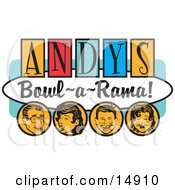Man Woman Boy And Girl Laughing And Having Fun On A Vintage Andys Bowl A Rama Sign Clipart Illustration by Andy Nortnik