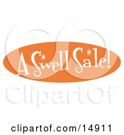 Vintage Orange Sign Reading A Swell Sale Clipart Illustration