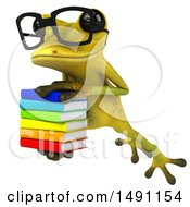 Clipart Of A 3d Bespectacled Light Green Frog Leaping With A Stack Of Books On A White Background Royalty Free Illustration