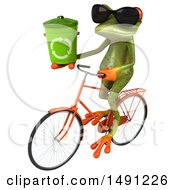 October 13th, 2017: Clipart Of A 3d Green Springer Frog On A Bike On A White Background Royalty Free Illustration by Julos