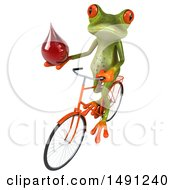 Clipart Of A 3d Green Springer Frog On A Bike On A White Background Royalty Free Illustration