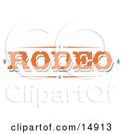 Western Orange Rodeo Sign Clipart Illustration