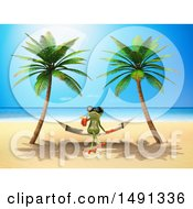 Poster, Art Print Of 3d Green Springer Frog Drinking A Cocktail On A Hammock On A Tropical Beach On A White Background
