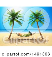 Clipart Of A 3d Green Frog Relaxing On A Hammock On A Tropical Beach Royalty Free Illustration by Julos