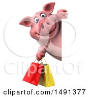 3d Chubby Pig Holding Shopping Bags On A White Background