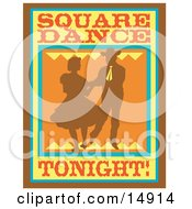 Silhouetted Cowboy Square Dancing With A Woman