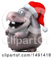 Clipart Of A 3d Christmas Henry Hippo Character On A White Background Royalty Free Illustration by Julos