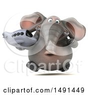Clipart Of A 3d Elephant Character On A White Background Royalty Free Illustration
