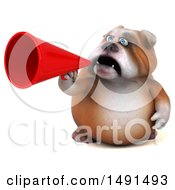 3d Bulldog Using A Megaphone On A White Background