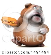 Clipart Of A 3d Bulldog Holding A Hot Dog On A White Background Royalty Free Illustration