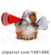 3d Bulldog Holding A House On A White Background