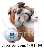 3d Bulldog Holding An Eyeball On A White Background