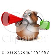 3d Bulldog Holding A Gas Can On A White Background