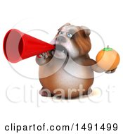 Clipart Of A 3d Bill Bulldog Holding A  On A White Background Royalty Free Illustration