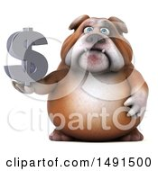 3d Bill Bulldog Holding A Dollar Symbol On A White Background