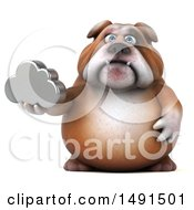 Clipart Of A 3d Bill Bulldog Holding A Cloud On A White Background Royalty Free Illustration