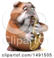 Clipart Of A 3d Bill Bulldog Playing A Saxophone On A White Background Royalty Free Illustration