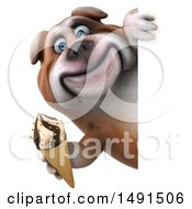 Clipart Of A 3d Bill Bulldog Holding An Ice Cream Cone On A White Background Royalty Free Illustration