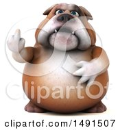 Clipart Of A 3d Bill Bulldog Mascot Holding Up A Middle Finger On A White Background Royalty Free Illustration