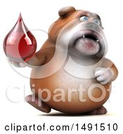 Poster, Art Print Of 3d Bill Bulldog Mascot Holding A Blood Drop On A White Background