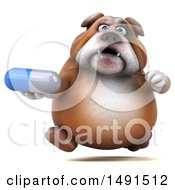 Clipart Of A 3d Bill Bulldog Mascot Holding A Pill On A White Background Royalty Free Illustration