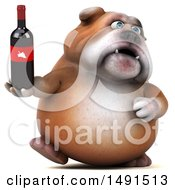 3d Bill Bulldog Mascot Holding A Wine Bottle On A White Background