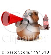 Clipart Of A 3d Bill Bulldog Mascot Holding A Soda And Megaphone On A White Background Royalty Free Illustration