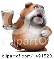 Clipart Of A 3d Bill Bulldog Mascot Holding A Beer On A White Background Royalty Free Illustration