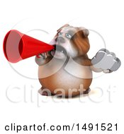 Clipart Of A 3d Bill Bulldog Mascot Holding A Megaphone And Cloud On A White Background Royalty Free Illustration