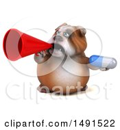Clipart Of A 3d Bill Bulldog Mascot Holding A Megaphone And Pill On A White Background Royalty Free Illustration
