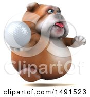 Clipart Of A 3d Bill Bulldog Mascot Holding A Golf Ball On A White Background Royalty Free Illustration