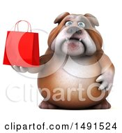 Clipart Of A 3d Bill Bulldog Mascot Holding A Shopping Bag On A White Background Royalty Free Illustration